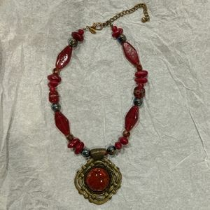 Chico's Red necklace with metal pendant